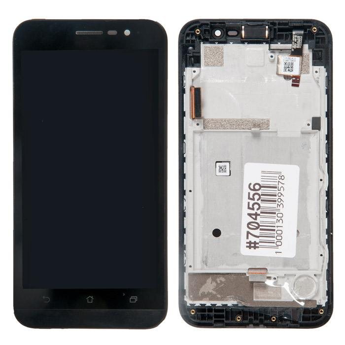 ASUS ZenFone Go ZB500KG дисплей в сборе с тачскрином и рамкой крепления для ASUS ZenFone Go ZB500KG черный с разбора в Ярославле
